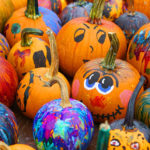 Autumn craft painted pumpkins