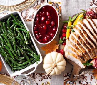 Thanksgiving table with delicious food
